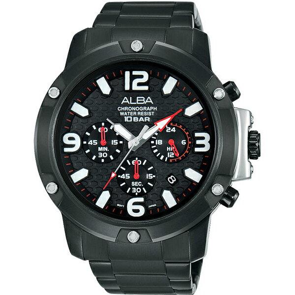 ALBA VD53-X218SD(AT3825X1)極致黑競速計時腕錶/黑面45mm