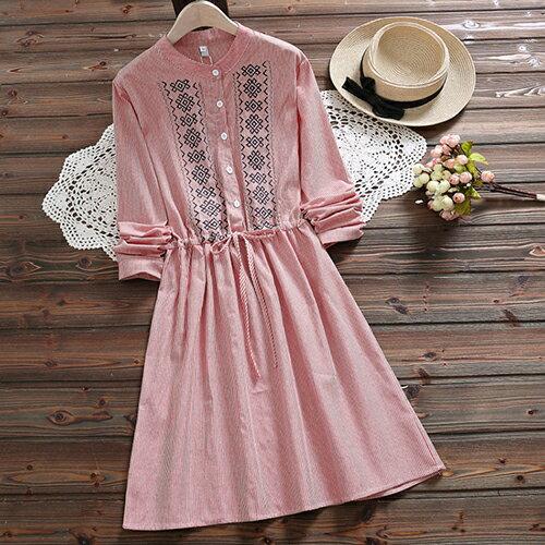 *ORead*森女風條紋刺繡繫帶收腰連身裙(2色S~2XL) 0
