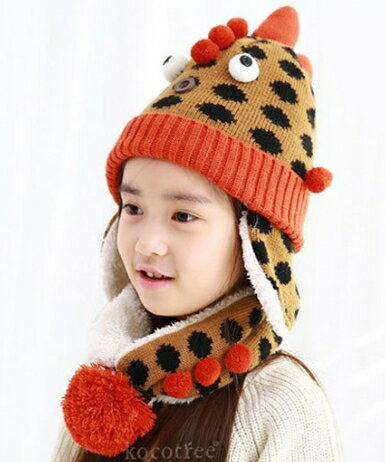 Kocotree◆ 秋冬趣味俏皮怪獸點點針織保暖兒童毛線帽+造型尾巴圍巾 一體帽-橘色