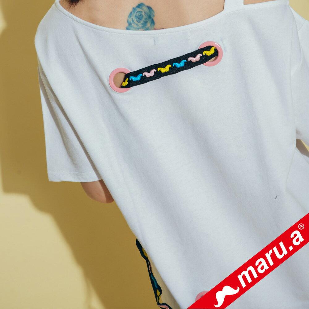 【maru.a】胸前maru.a印花背後織帶裝飾露肩洋裝 8317111 6