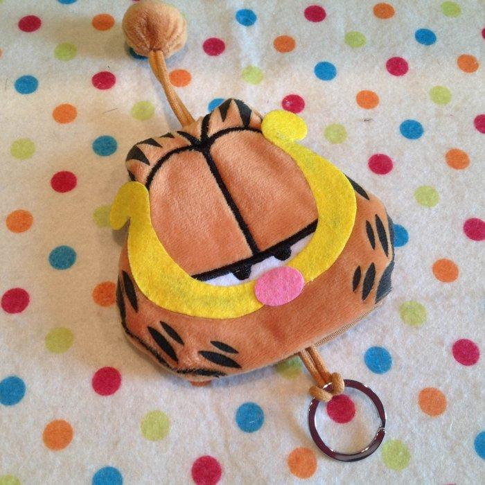 =優生活=可愛卡通加菲貓 鑰匙包 抽繩毛絨鑰匙包 鑰匙包 零錢包 毛絨鑰匙圈