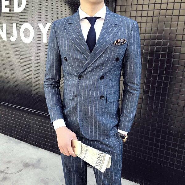 FINDSENSEH1男士清爽簡潔條紋彈力面料修身雙排扣西裝馬甲西褲三件套職業套裝