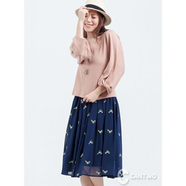 CANTWO:CANTWO一字領扭轉袖針織上衣粉色款