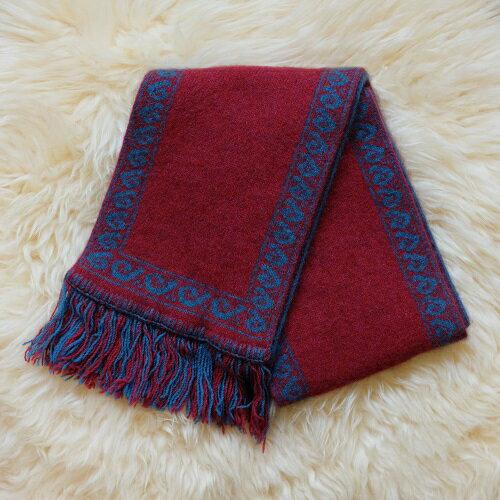 Any美麗新世界:紐西蘭貂毛羊毛圍巾紐西蘭銀蕨圖騰*雙面覆盆子色藍綠色