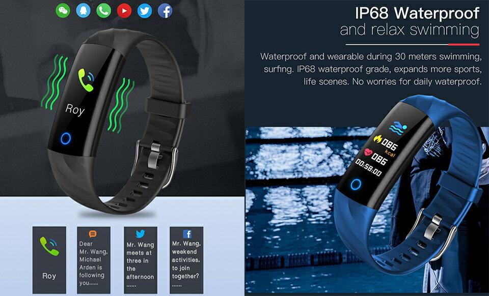 JYouPro S5 0.96'' Color Screen IP68 Waterproof Smart Bracelet Heart Rate/Blood Pressure/Oxygen Monitor Fitness Tracker w/ Night Run Breathing Light 3