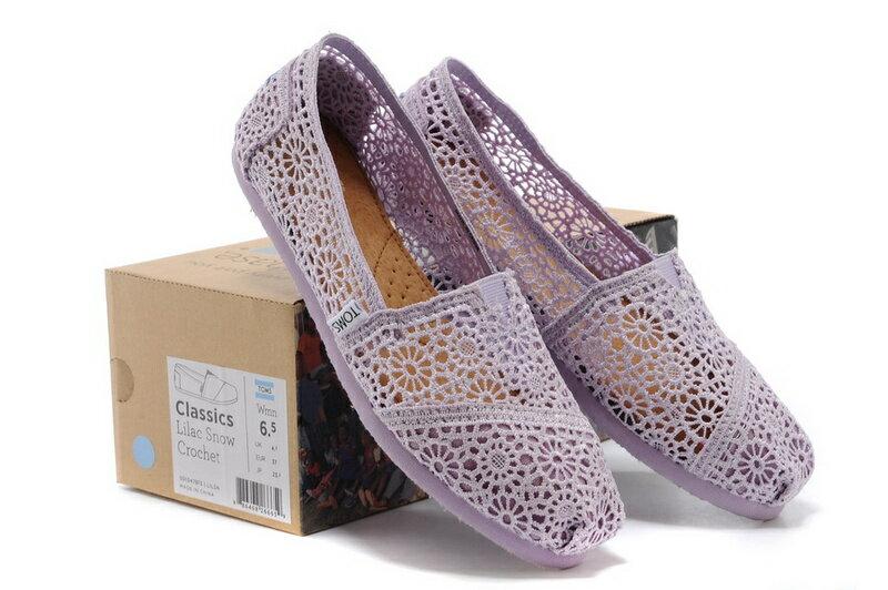 【TOMS】淡紫色蕾絲鏤空繡花平底休閒鞋  Lilac Snow Crochet Women's Classics【全店免運】 7