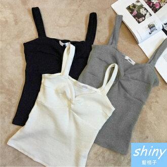 【V0419】shiny藍格子-好感春搭.小性感純色修身短版背心上衣