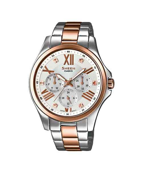 CASIO SHEEN SHE-3806SPG-7A點彩晶鑽時尚腕錶/白色面39mm