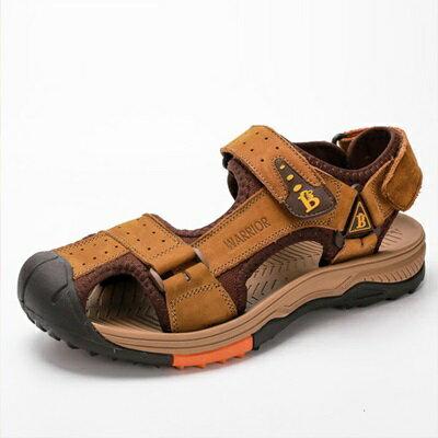 涼鞋真皮拖鞋-舒適透氣包頭休閒男鞋子4色73sa2【獨家進口】【米蘭精品】