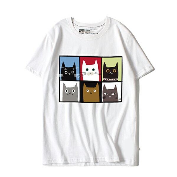 T恤 情侶裝 客製化 MIT台灣製純棉短T 班服◆快速出貨◆獨家配對情侶裝.六格貓【YC604】可單買.艾咪E舖 1