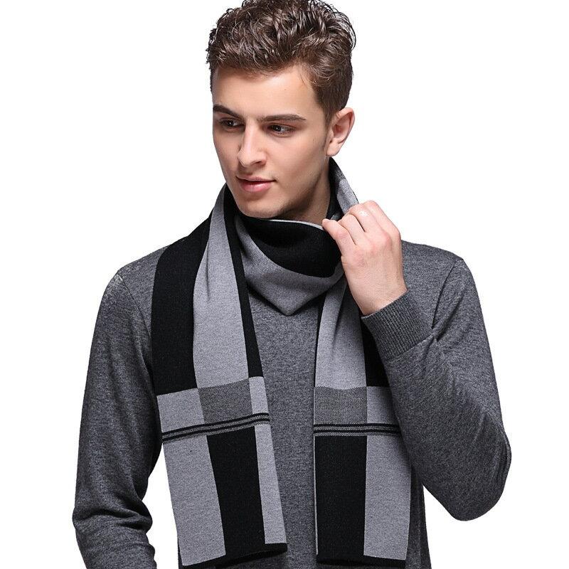 圍巾針織披肩-格子加厚溫暖羊毛男配件3色73wi2【獨家進口】【米蘭精品】
