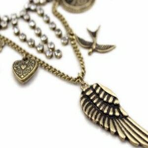 美麗大街【GX0328】 歐美風 閃鑽蝴蝶結寶石鏈雙層復古 女 項鍊 毛衣鏈
