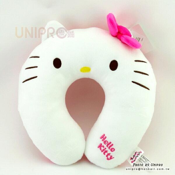 【UNIPRO】HelloKity凱蒂貓KT頭型頸枕亂花版U型枕旅行枕靠枕頸枕三麗鷗正版授權