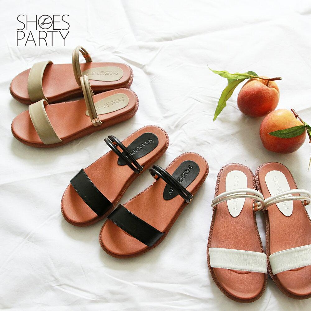 【S2-19628L】Simple+久走不累一字帶兩穿涼鞋_Shoes Party 0