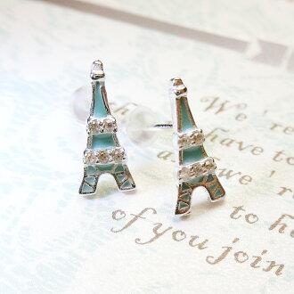 Tokyo Alice 925純銀巴黎鐵塔鋯石耳環,飾品首飾耳飾貼耳針飾品(se0000007)