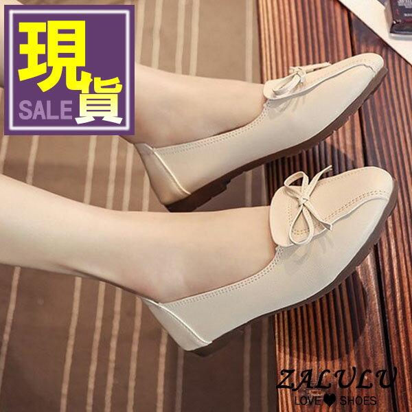 ZALULU愛鞋館7CE174小女人蝴蝶結縫線平底娃娃包鞋-偏小-黑米白-36-40
