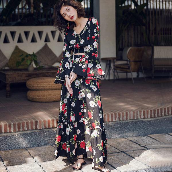 PS Mall 渡假女裝套裝裙子兩件套長裙 洋裝【T025】 2