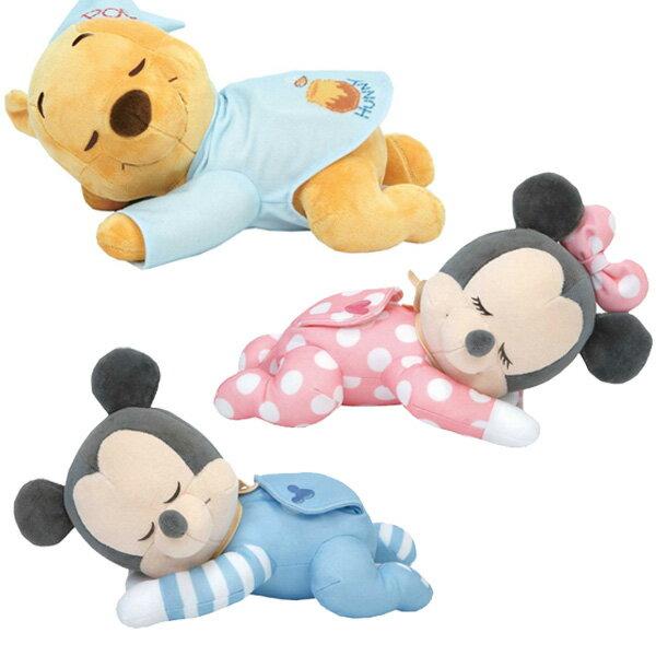 日本 DISNEY 迪士尼 睡覺米尼 米奇 小熊維尼 嬰幼兒睡眠安撫音樂玩偶禮盒