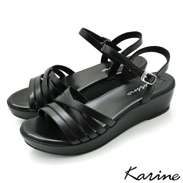 karine(MIT台灣製)全真皮交叉細帶鏤空楔型涼鞋-黑色