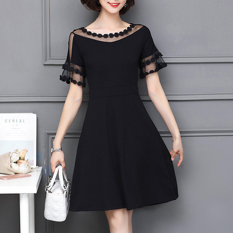 連衣裙--優雅浪漫網紗蕾絲露肩荷葉袖A字修身雪紡圓領短袖洋裝(黑.粉M-2L)-D515眼圈熊中大尺碼 1