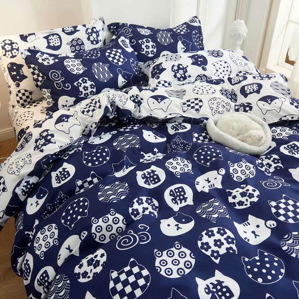 床包被套組(鋪棉兩用被套)-單人/雙人/加大 / 舒柔棉 / 日系小貓【母親節推薦】