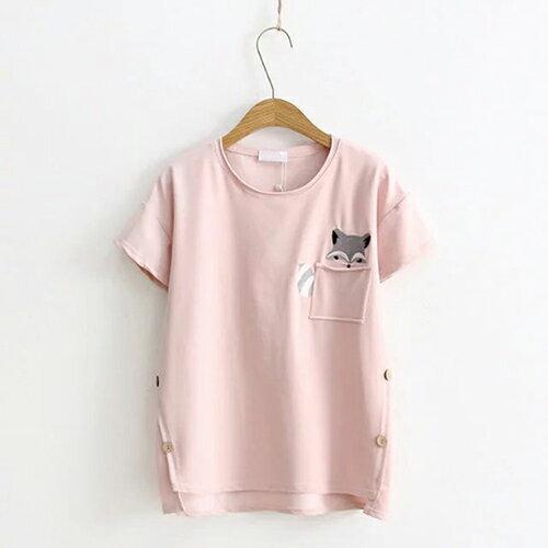 *ORead* 日系小清新口袋狐狸刺繡短袖T恤(粉色F碼) - 限時優惠好康折扣