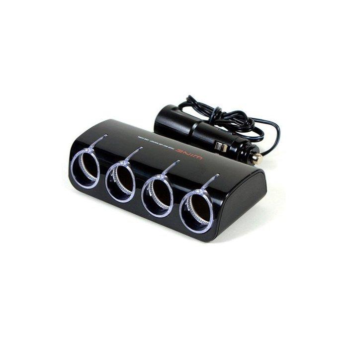 權世界@汽車用品 Autoban WINE USB+4孔點煙器擴充插座 延長線360度旋座式 LED藍光 AW-Z04