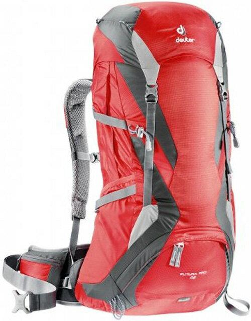 【鄉野情戶外專業】 Deuter |德國| Futura Pro 42L 透氣網架登山背包 自助旅行 紅/灰 34294
