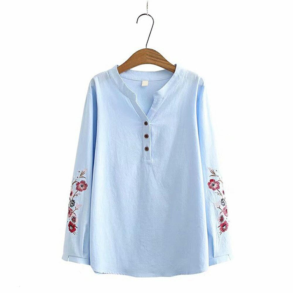 花朵刺繡棉麻V領長袖襯衫(4色XL~4XL)*ORead* 2