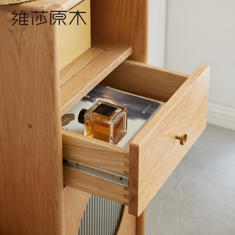 實木電視柜邊柜置物架現代簡約沙發側邊柜客廳收納立柜新中式♠極有家♠