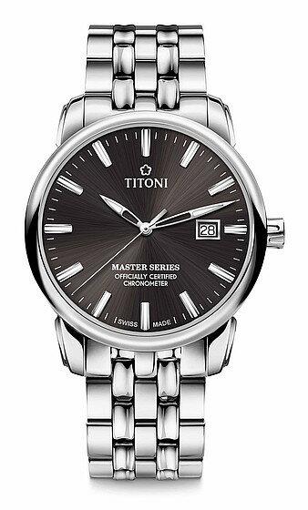 TITONI瑞士梅花錶大師系列 83188 S-576 精密時計自動機芯腕錶/咖啡面41mm
