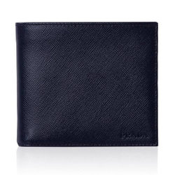 (免運) PRADA 男士雙摺短夾 (藍色) 有零錢袋 738