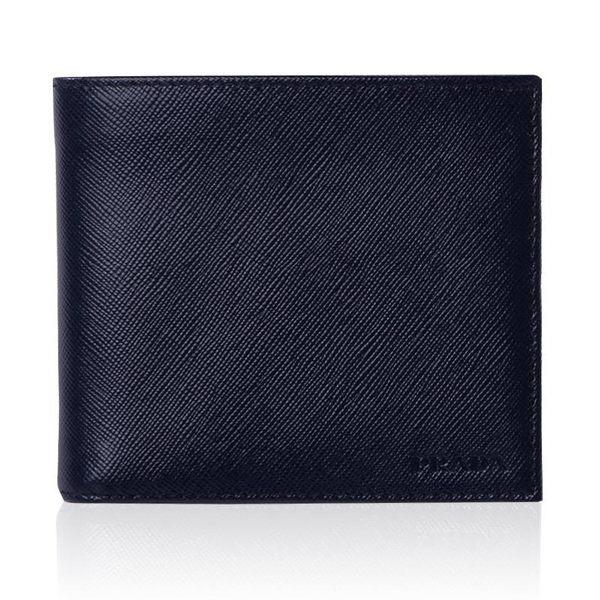 (免運)PRADA男士雙摺短夾(藍色)有零錢袋738