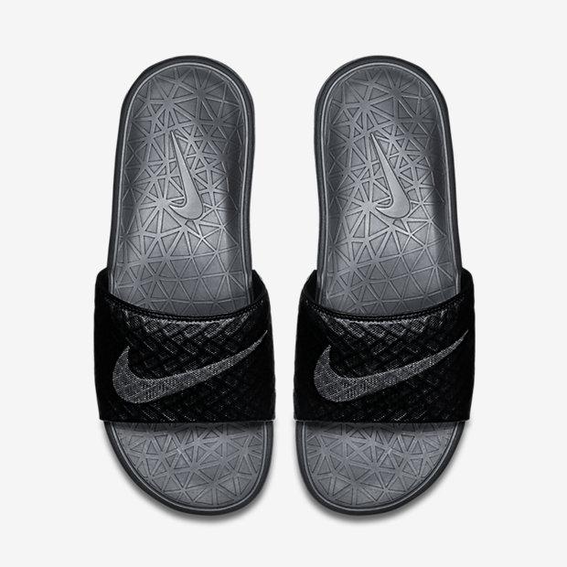 NIKE BENASSI SOLARSOFT 男女鞋 拖鞋 軟底 格紋 舒適 黑【運動世界】 705474-091