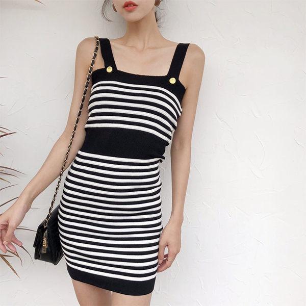 PSMall撞色條紋吊帶針織連身裙顯瘦短裙洋裝【T296】