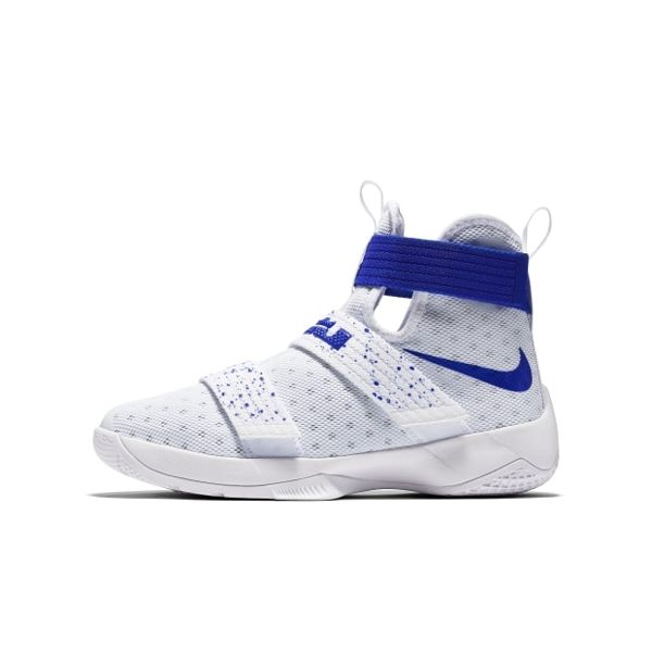 Nike LeBron Soldier 10 女鞋 籃球鞋 大童 高筒 白藍 【運動世界】 845121-165【1月會員神券★消費滿1000結帳輸入序號New2018-100↘折100 | 消費滿1..