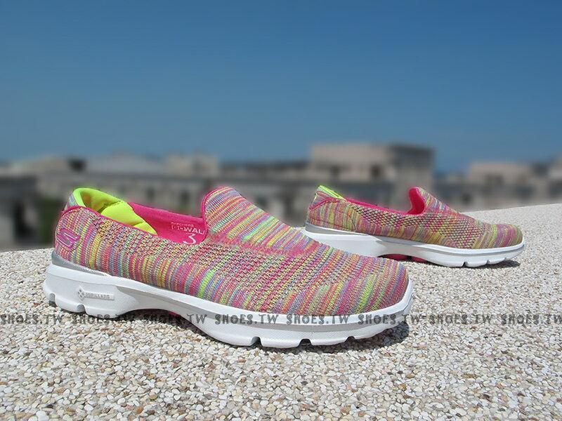 [25.5cm]Shoestw【13987MULT】SKECHERS 健走鞋 GO WALK3 全新Q彈底 桃紅黃 編織 瑜珈鞋墊