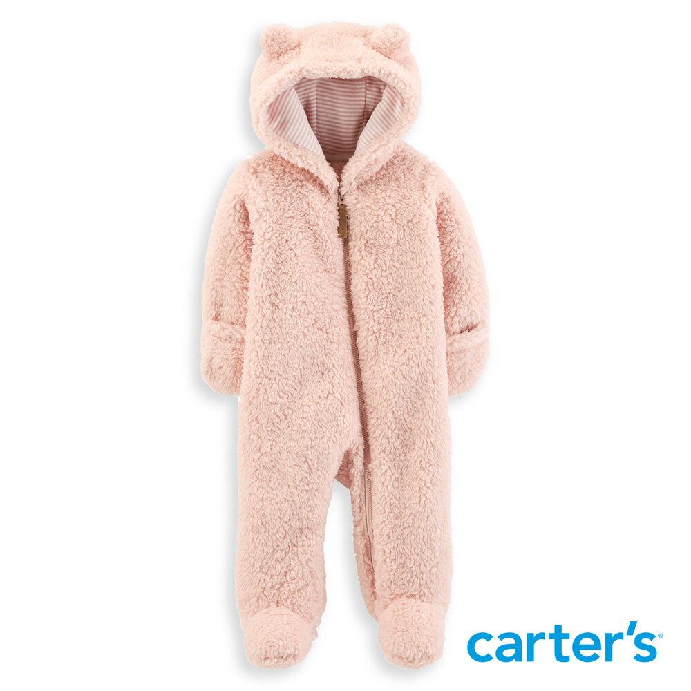 Carter's 毛茸茸連帽連身裝(粉) 0