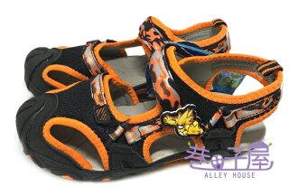 【巷子屋】塞爾號 男童專業護趾運動涼鞋 [46110] 黑橘 超值價$198