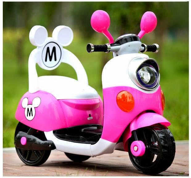 米奇靠背電動車 / 機車  粉色款