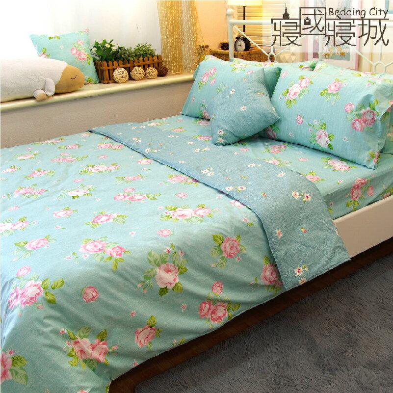 加大雙人床包涼被4件組-夢遊花綠 【精梳純棉、吸濕排汗、觸感升級】台灣製造 # 寢國寢城 3