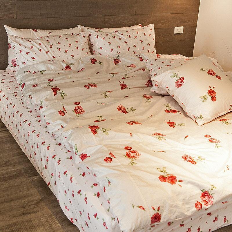 熱賣!床包  /  雙人-100%精梳棉【玫果雪酪-粉】含兩件枕套,在巴黎遇見系列,浪漫碎花,戀家小舖台灣製 1