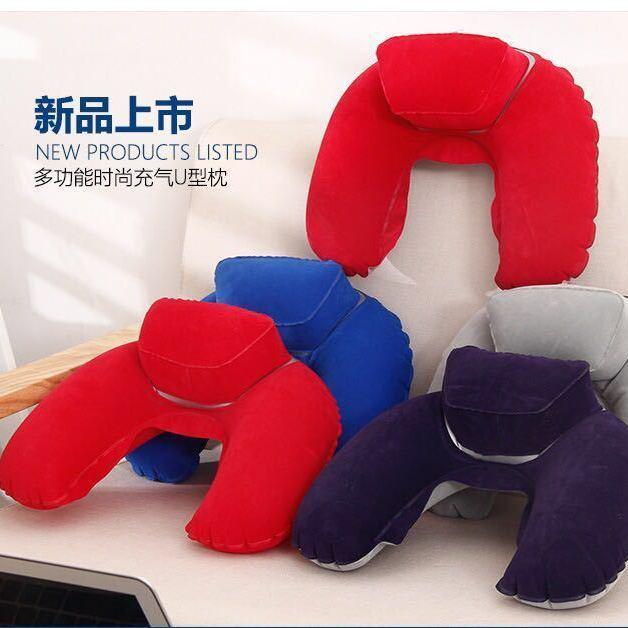 充氣U型枕頭戶外旅行必備充氣頸枕U型護頸