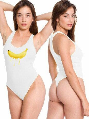 2017歐美新款美式風格香蕉印花性感潮流高衩丁字連身泳衣比基尼死庫水 DB1239