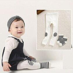 膝蓋條紋九分褲+短襪套裝 兒童連褲襪 內搭褲 橘魔法 Baby magic 兒童褲襪 童裝 女童 小童