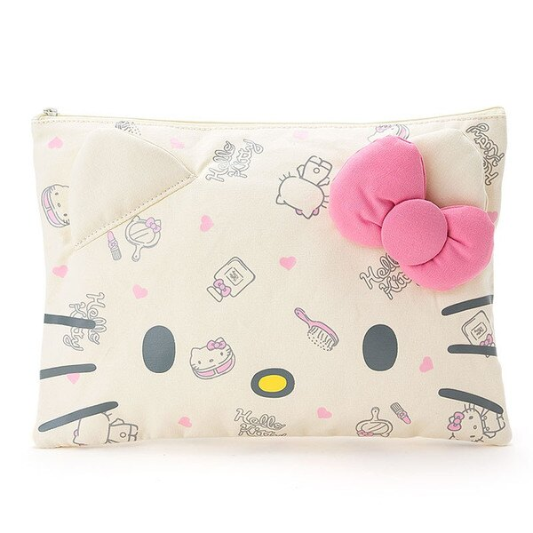 <br/><br/>  【真愛日本】16031100012帆布拉鍊收納包L-米臉粉結  三麗鷗 Hello Kitty 凱蒂貓 收納 化妝包<br/><br/>