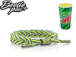 BEETLE PLUS 西門町經銷 全新 美國品牌 RASTACLAT MOUNTAIN DEW 汽水 聯名款 STRIPE 綠黃 白 鞋帶 編織 手環 RA-71