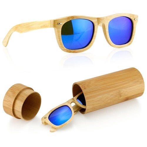 7f87d7291f Wood Wooden Mens Womens Bamboo Vintage Sunglasses Eyewear with Bamboo Case  box - Blue 0