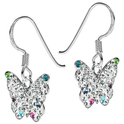 Cute White Butterfly CZ Flutter .925 Silver Dangle Earrings 1