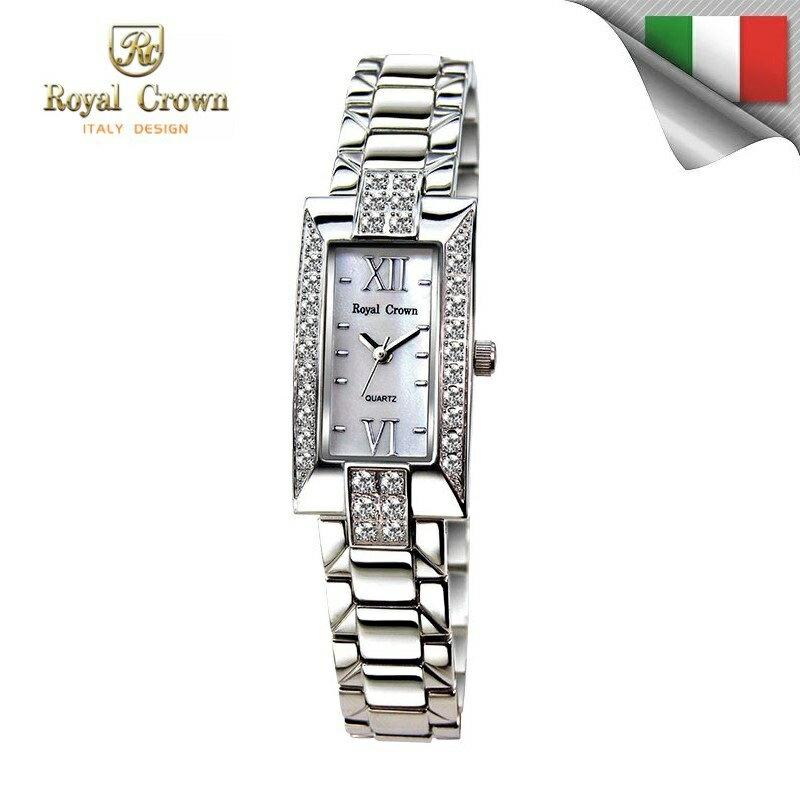 日本機芯 華貴氣質鑲鑽石英女錶 柔軟精鋼錶帶 3591S免運費 義大利品牌精品手錶 蘿亞克朗 Royal Crown 極品風韻